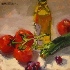 "Daily Paintworks - ""Mediterranean Diet"" - Original Fine Art for Sale - © Karen Werner Painting Still Life, Still Life Art, Paintings I Love, Small Paintings, Oil Paintings, Vegetable Painting, Kitchen Artwork, Daily Painters, Fruit Painting"