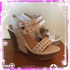 """White Wedges Re-posh Faux leather white wedges with gold studded detailing. Super lightweight! Excellent shape! Never worn outside. **I also have the same ones in black listed**  4.5"""" wedge  1.5"""" platform Rosette Shoes"""