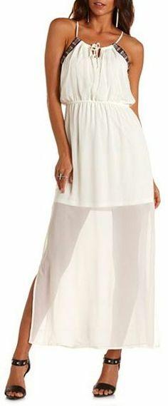 Charlotte Russe Serape Trim Chiffon Maxi Dress