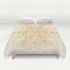 Sepia Snowflake Doodle Duvet Cover