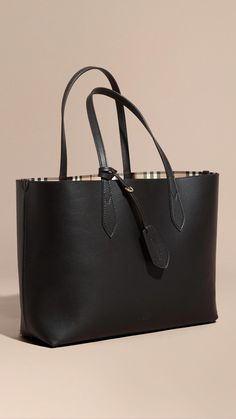 5ce78548950d The Medium Reversible Tote in Haymarket Check and Leather Black