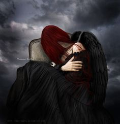 """While I was writing one of my poems (""""Fallen angel"""") I was thinking of something like this manip.hope you`ll like it Stock: model : death : background : rose : knife : bird : Angels Among Us, Angels And Demons, Dark Angels, Fallen Angels, Dark Fantasy, Fantasy Art, Demon Pictures, Fantasy Pictures, Mystical World"""