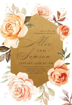 Gold and Roses - Engagement Party Invitation #invitations #printable #diy #template #Engagement #party #wedding Free Wedding Invitations, Christening Invitations, Engagement Party Invitations, Bridal Shower Invitations, Funeral Cards, Memorial Cards, Rose Wedding, Party Wedding, Wedding Dress