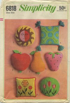 """Vintage Sewing Pattern for Stuffed Pillows   Simplicity 6818   Year 1966   Round 15""""   Square 14""""   Apple 13""""x15   Pear 15""""x11""""   Strawberry 14""""x12"""""""