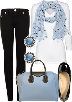 Black jeans and light blue