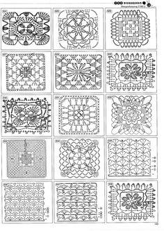Beautiful and more crochet pattern ~ make handmade - handmade - handicraft Granny Pattern, Crochet Motif Patterns, Crochet Blocks, Crochet Diagram, Square Patterns, Crochet Chart, Crochet Squares, Thread Crochet, Crochet Doilies
