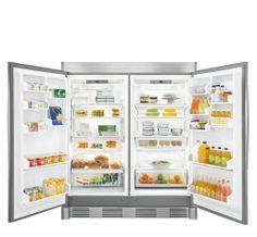 Freezer and refrigerator interior.