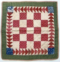Mid 1800s Red Green Calico One Patch Doll Quilt Hand Quilted Flying Geese
