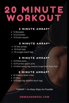 7 Day Home Workout Challenge: Complete Transformation in 8 Weeks - 20 Minute Workout – 4 AMRAPS The best image about diy clothes for your taste You are looking f - 7 Day Workout, Amrap Workout, 20 Minute Workout, Workout Challenge, Tabata, Crossfit Workouts At Home, Hiit Workout At Home, Easy Daily Workouts, Workout Plans