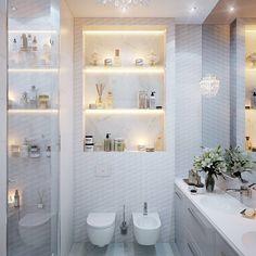 Osnichos no banheirosão sempre bem vindos, é uma forma de armazenar e organizar utensílios de uso diário ou objetos decorativos. Além… Alcove, Bathtub, Interior, Bathrooms, Ideas, Shape, Organize, Houses, Green