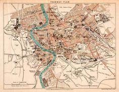 1908 Lithograph Map Tramway Plan Rome Italy Vatican tiber River Via Nazional | eBay