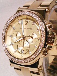 Michael Kors MK5386 Chrono Swarovski Crystal Glitz Gold Tone Womens Watch