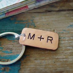 9fb440174d4f2 Couple Initials Copper Keychain. Copper Anniversary GiftsAnniversary Gift  Ideas ...