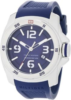 Men's Wrist Watches - Tommy Hilfiger Mens 1790771 Sport Blue Double Layer Dial on Blue Silicon Strap Watch * To view further for this item, visit the image link.