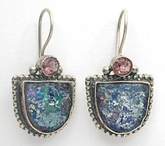 Israeli roman glass filigree earrings silver jewellery