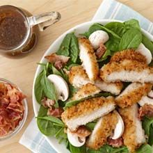 Warn onion and herb chicken and bacon make flavorful additions to this classic spinach salad.
