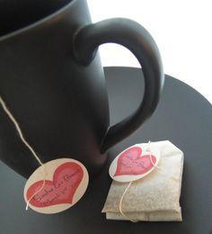 Heart organic tea favors, wedding favors, green wedding