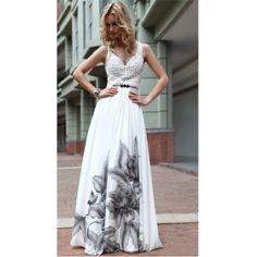 A-line/ Princess V-neck Straps Pearl Chiffon With Pattern/ Print Evening Dress