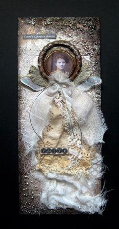 Meet Faith - mixed media art collage by Sanda Reynolds www.artfulflight.com