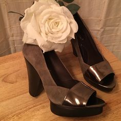BCBG MAXAZARIA HEELS STUNNING STACKED LEATHER ANGLE HEELS.   Wood Angle Heels and Beautiful  Leather Cushion Insole as well as Suede and Patent Leather upper make these Shoes A MUST IN YOUR WARDROBE. BCBGMaxAzria Shoes Heels