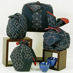 sashiko stitched furoshiki collection by Alderspring Design, via Flickr