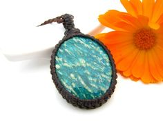 Amazonite Necklace, Amazonite pendant,  Amazonite,  Gemstone , Macrame, Green , Bold,  Healing Stones and crystals, Funky,  hippy