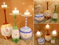 Are you crafty? Buy some Dollar Store wine glasses, paint with cute snowmen faces, and use as candleholders! Genius!