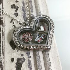Stainless Steel Firefighter Floating Locket Necklace - Firefighter Wife, Girlfriend, Mother - Fireman's Wife - Firefighter Jewelry - Memory