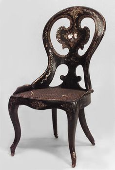 English Papier-mache seating chair/side chair lacquer