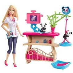 Play out your dreams of being a panda caretaker with Barbie and go online to further explore this dream job! This Barbie comes with 2 cute baby pandas a table for examining them and a basket in whic... Mattel Barbie, Barbie Y Ken, Barbie Sets, Barbie House, Barbie Dolls, Barbie Doll Stuff, Barbie Clothes, Accessoires Barbie, Barbie Playsets