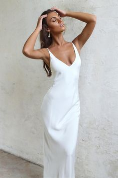 The utterly chic yet bold Arlo gown was designed for the inexplicably chic Grace girl who exudes confidence and has an affinity for understated drama. - Graco - Ideas of Graco Sleek Wedding Dress, Minimalist Wedding Dresses, Sheath Wedding Gown, Sexy Wedding Dresses, Cheap Wedding Dress, Bridal Dresses, Lace Wedding, Elegant Wedding, Grace Loves Lace