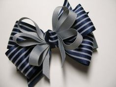 Back to School Dark NAVY Blue & Gray Hair Bow by HareBizBows