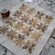Beautiful floral/autumn cross stitch embroidered tablecloth in white linen from Sweden Cross Stitch Borders, Modern Cross Stitch, Cross Stitch Charts, Cross Stitch Designs, Cross Stitching, Cross Stitch Embroidery, Hand Embroidery, Cross Stitch Patterns, Embroidery Designs