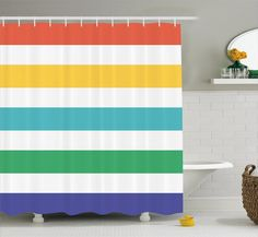 Striped Shower Curtain Set by Ambesonne, Rainbow Colored and White Fun Horizontal Lines Kids Room Red Yellow Blue Green Pattern, Fabric Bathroom Decor with Hooks, 70 Inches, Multicolor Bathroom Decor Sets, Modern Bathroom Decor, Bathroom Kids, Gold Bathroom, Bathrooms, Striped Shower Curtains, Fabric Shower Curtains, Decorative Curtains, Shower Curtain Sizes