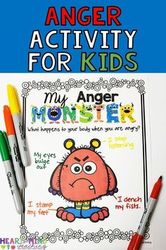 My Anger Monster for Anger Management. Students will identify how their anger looks and feels and what makes them angry. They will also identify different environments and people that trigger their anger. Great for students who are struggling with anger m Anger Management Counseling, Anger Management Activities, Classroom Management Strategies, Social Skills Lessons, Teaching Social Skills, Social Emotional Learning, Teaching Resources, Elementary School Counseling, School Social Work