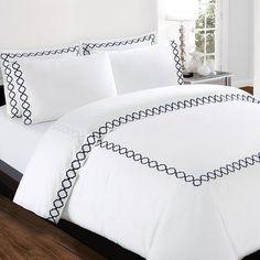 Echelon Home Quatrefoil Embroidery 300 Thread Count Cotton Sheet Set Color: Zinc, Size: California King Bed Cover Design, Bed Linen Design, Bed Sheet Sets, Cotton Sheet Sets, Draps Design, Country Stil, French Country, Designer Bed Sheets, Bed Sets