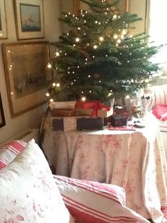 Notes by Cabbages & Roses: Christmas at Brook Cottage Cottage Christmas, Christmas Love, Country Christmas, All Things Christmas, Merry Christmas, Xmas, English Christmas, Tabletop Christmas Tree, Christmas Decorations