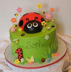 Ladybug Birthday cake for Riley Ladybug 1st Birthdays, Pink Ladybug Birthday, Ladybird Cake, Ladybug Cakes, Baby Birthday Cakes, Birthday Ideas, Novelty Cakes, Girl Cakes, Creative Cakes