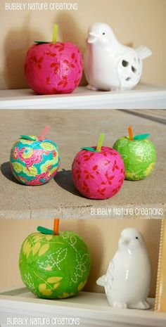 Take dollar store apples and turn them into fabric apples with Mod Podge! Choose your favorite fabrics in your favorite colors to personalize.
