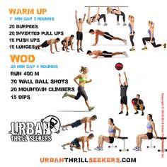 20 burpees, 20 inverted pull ups, 10 push ups, run 400m, 30 wall ball shots, 20…