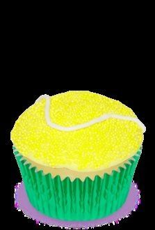 How cute are these Tennis cupcakes!!! The original link was reported as spam so I'm not sure how they are made but surely they would not be that difficult to decorate.