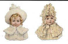 Victorian Die Cut Scrap 2 Snowbabies in White | eBay