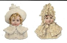 Victorian Die Cut Scrap 2 Snowbabies in White | eBay