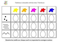 Les Tibidous site pour enfants - exercices à imprimer sur le tri dans un tableau : niveau moyenne section de maternelle - les tibidous - tableau à double entrée