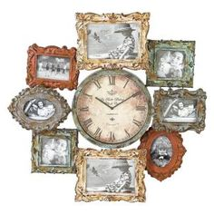 This metal clock in antique design consists of eight photo frames and one clock in the center. The attraction of the metal clock photo frame is rusty material used for designing the clock and frames. Wall Clock And Picture Frames, Frame Wall Collage, Antique Picture Frames, Picture Frame Decor, Antique Pictures, Frames On Wall, Wall Clocks, Large Frames, Antique Frames