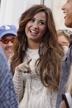 "Demi Lovato at The Grove in Los Angeles where she appeared on the ""Access Hollywood"" TV show Los Angeles 10/11/2011"