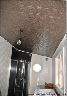 Pressed metal used on a bathroom ceiling. This is the Large Maple design. Learn more about it here: http://www.heritageceilings.com.au/tempat/largemaple.php