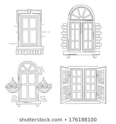 Find Set O Retro Windows Isolated On stock images in HD and millions of other royalty-free stock photos, illustrations and vectors in the Shutterstock collection. Thousands of new, high-quality pictures added every day. Illustration Simple, House Illustration, Cultural Architecture, Architecture Plan, Background Drawing, House Drawing, Drawing Lessons, Embroidery Art, Art Drawings
