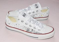 b652fbcd9015 Customised Crystal White Low Top All Star Converse Canvas Blinged Crystal  Sides   White Ribbon Custom Order Wedding Shoes Adult Wo…