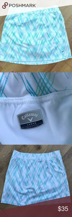 Call away Golf Skort. Size L Nice Callaway golf skort. White with light green accents. 2 pockets and elastic waist. Some pilling by the logo see pictures. Perfect to hit the fairways. Size L # Callaway Shorts Skorts Callaway Golf, Green Accents, Skorts, Fashion Tips, Fashion Design, Fashion Trends, Elastic Waist, Gym Shorts Womens, Pockets